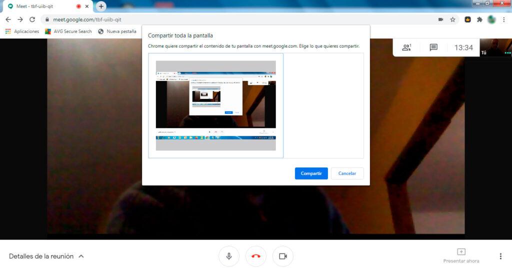 Presentar o compartir pantalla en Google Meet