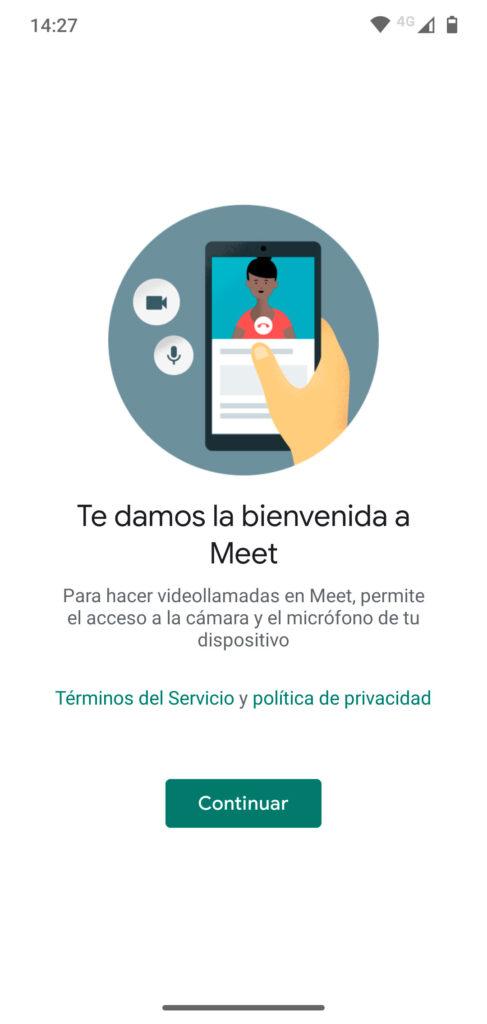 Permitir acceso a micrófono y cámara a Google Meet en Android