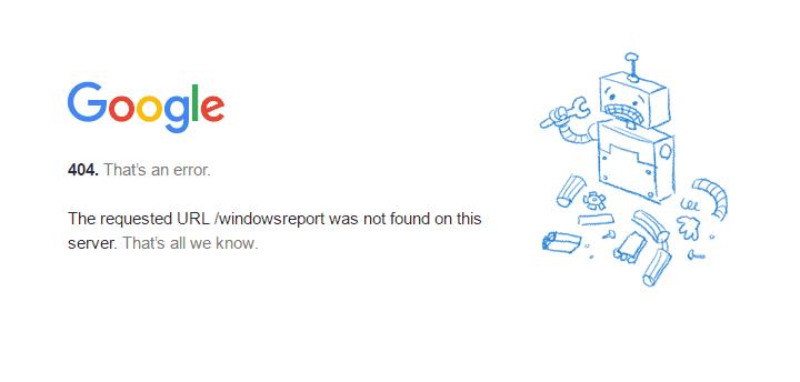 Error 404 de Google. Página no encontrada. Enlaces rotos.